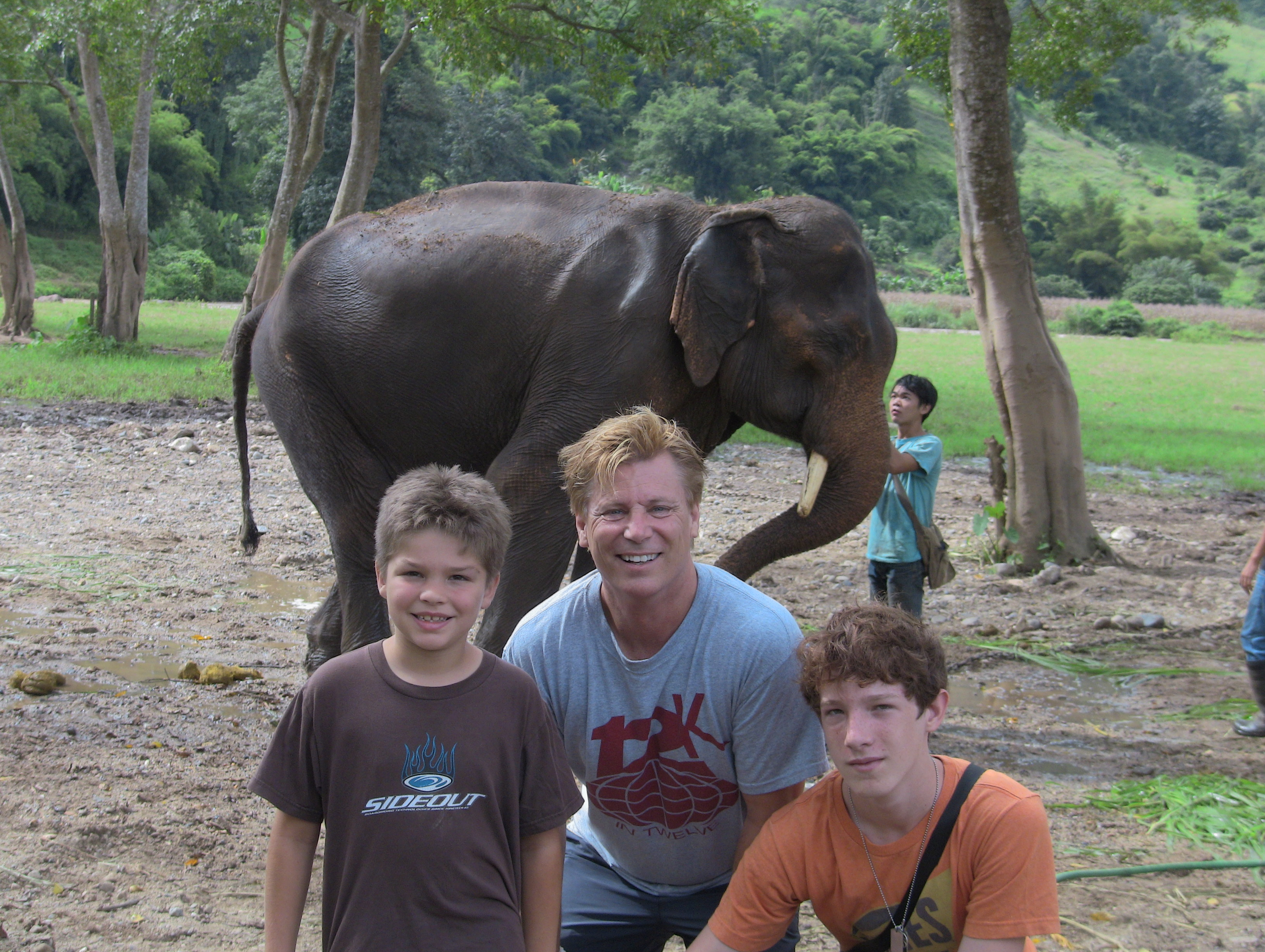 The Lewis family at Elephant Sanctuary